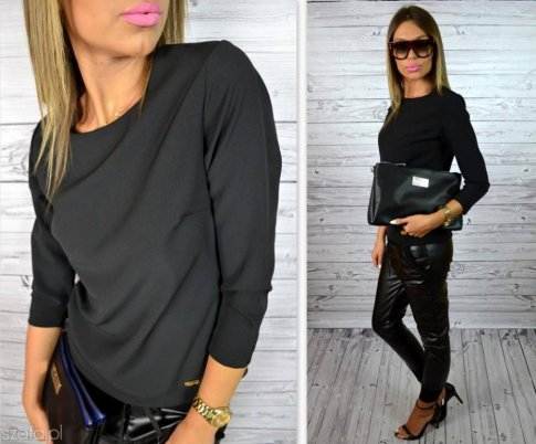 04b8693073 Zestaw II - czarne spodnie w czarne wzory + bluzka (która )