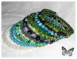 Bransolety MAXI - zieleń+niebieski