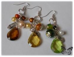 Diamentowe kolczyki - brązowe, zielone, miodowe