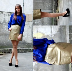 Golden skirt.