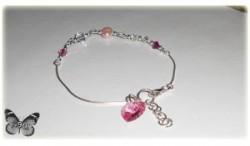 Srebrna bransoleta Swarovski - bicone & perły (różowa)