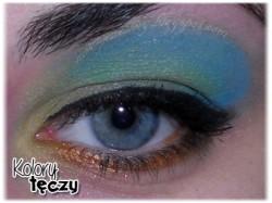 """Makijaż: niebieski, zielony, żółty i pomarańcz - projekt """"kolory tęczy"""" tydzień 5"""