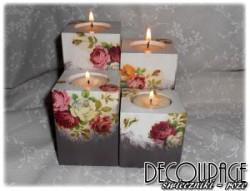Świeczniki decoupage - szaro-białe w róże
