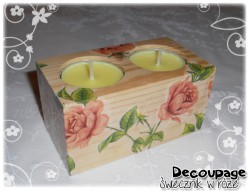 Świecznik decoupage w róże