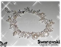 Biało-kryształowy komplet Swarovski - kolczyki i bransoleta