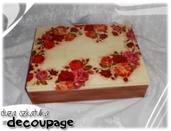 Duża szkatułka decupage w róże (12 przegródek)
