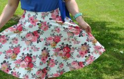 Flower skirt in a cherry garden
