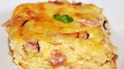 zapiekanka z szynką, serem i makaronem