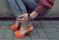 Orange block heels, blue and flowers