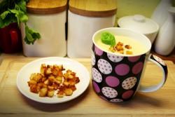 Serowa zupka z grzankami do kubka