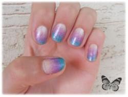 Ombre nails - podejście pierwsze - kremowy+fioletowy+niebieski