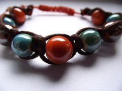 Macrame bracelet - orange&mint