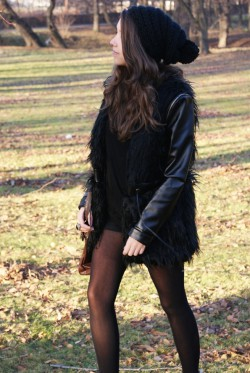 Leather + fur coat
