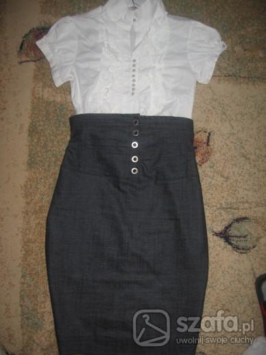 Spódnice Bluzka z żabotemspódnica z wysokim stanem