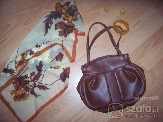 Chusty i apaszki w kwiaty pomarańczowo brązowa