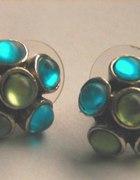 niebiesko zielone kolczyki