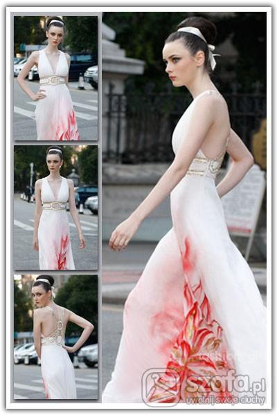 Biała czerwona suknie rozmiar od S do XL