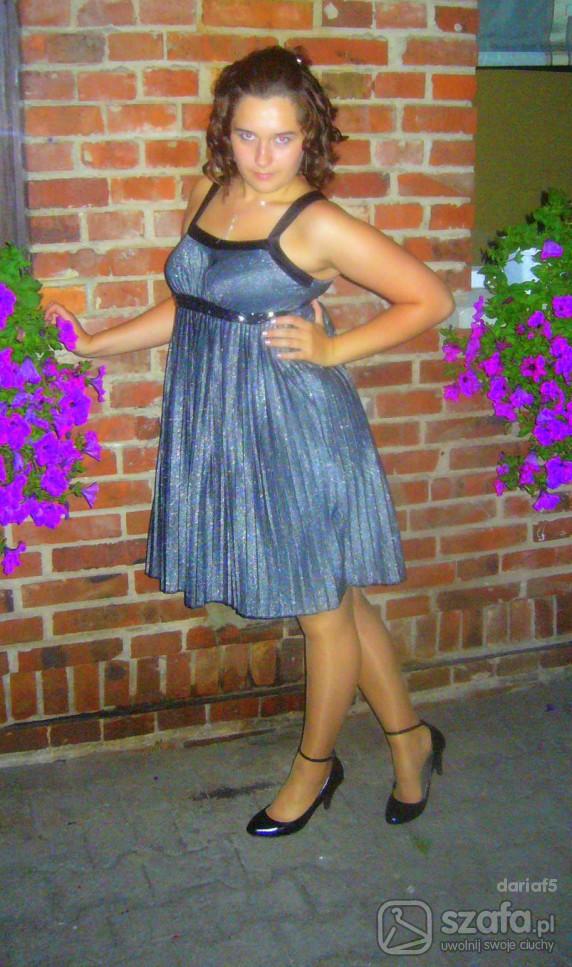 Eleganckie Srebrna sukienka