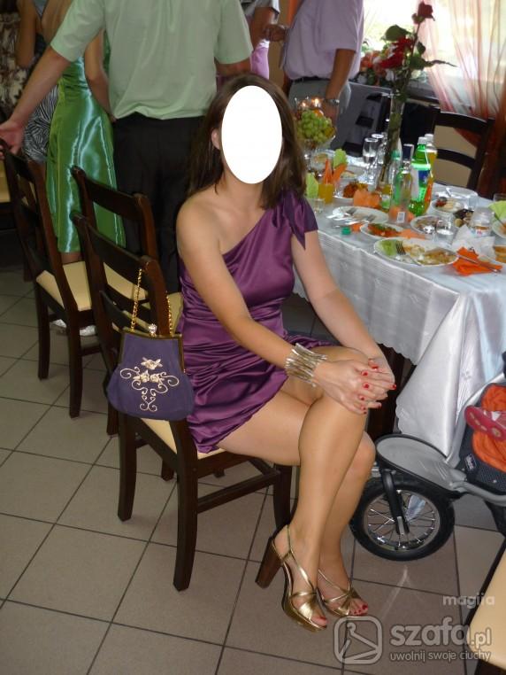 Wieczorowe weselnie sukienka linear buty prima moda torebka