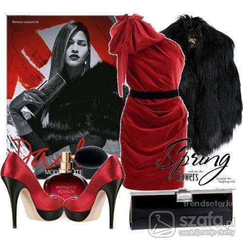 Eleganckie asymetryczna seksowna czerwien