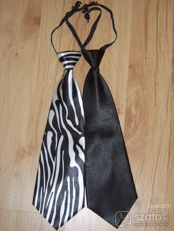 Pozostałe Krawat czarny i krawat w zebrę