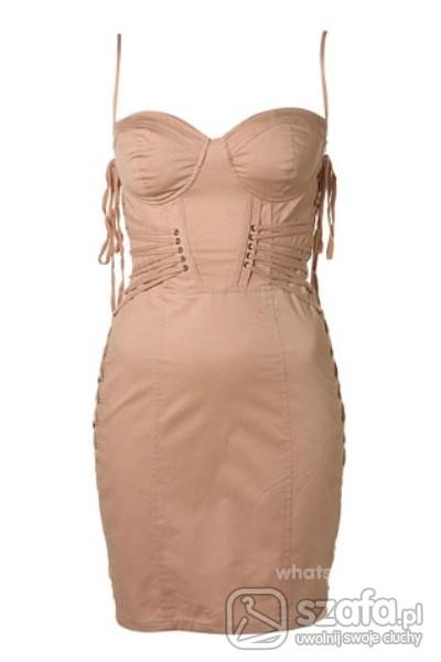 Eleganckie sukienka topshop nude