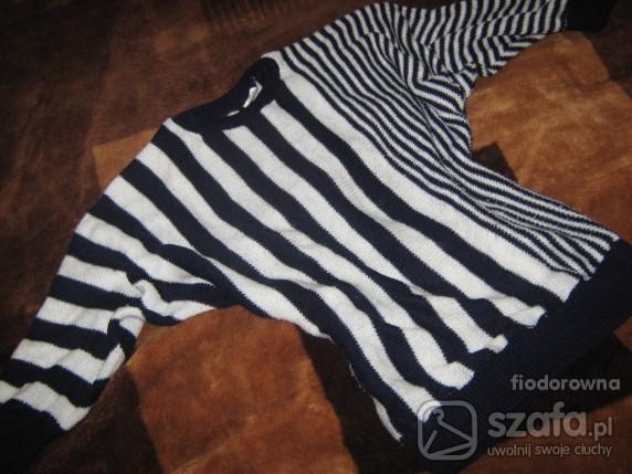 Swetry biało czarnygranatowy nietoperz
