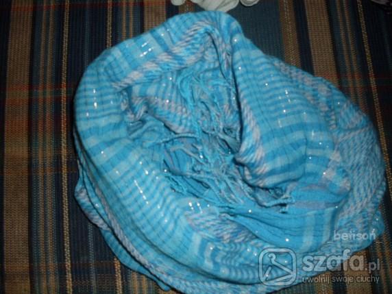 Chusty i apaszki apaszka niebieska przeplatana zrebną nitką