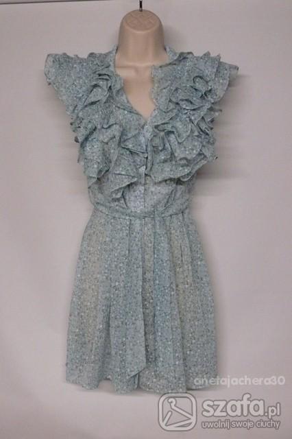 śliczna nowa sukienka z żabotem S M