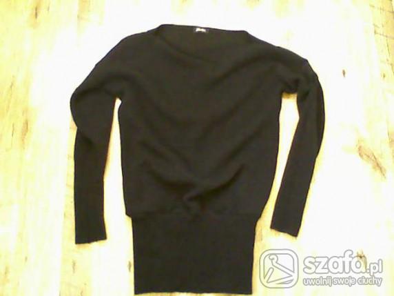 Swetry Czarny nietoperz tunika sukienka