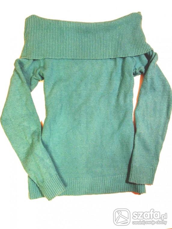 Swetry Turkusowy Sweterek Kołnierz