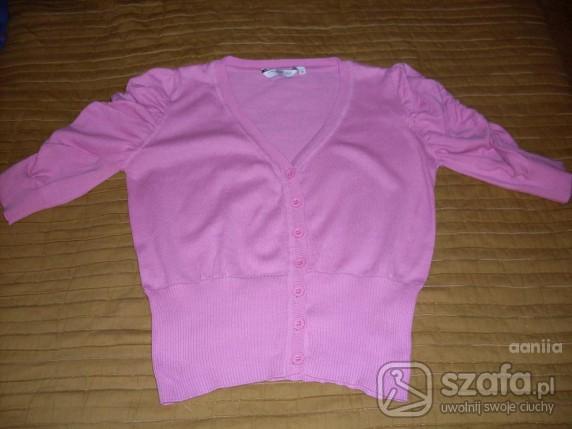 Swetry różowy sweterek z marszczonymi rękawkami