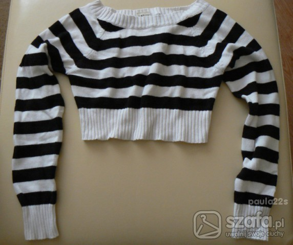 Swetry Marynarski sweterek w paski krótki