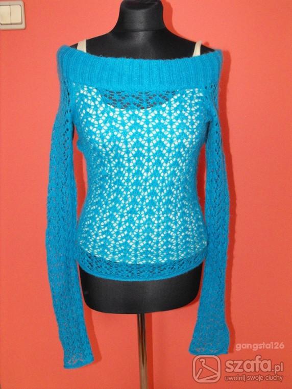 Swetry NIEBIESKI AŻUROWY SWETER