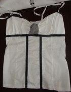 Bluzka czarno biała na ramiączkach