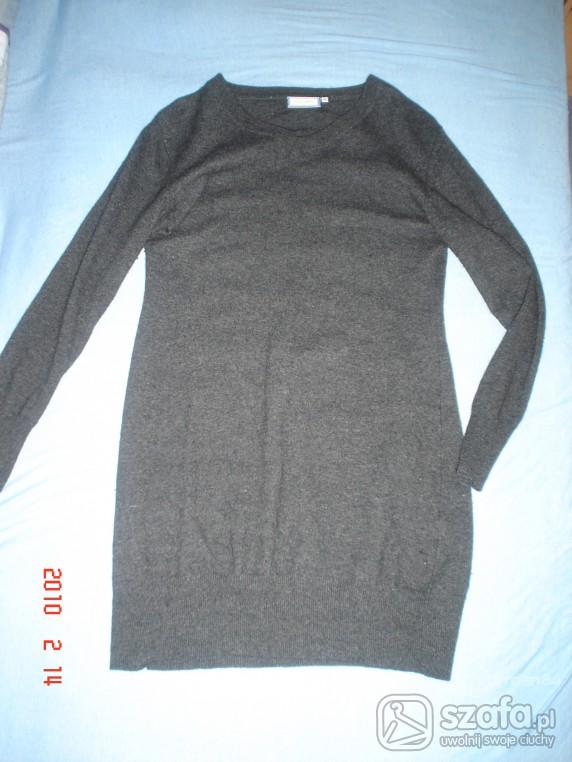 Swetry Sweter tunika szary