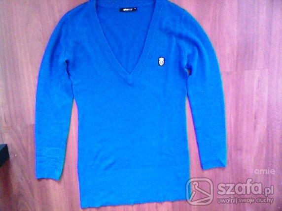 Swetry Chabrowy długi sweter w serek