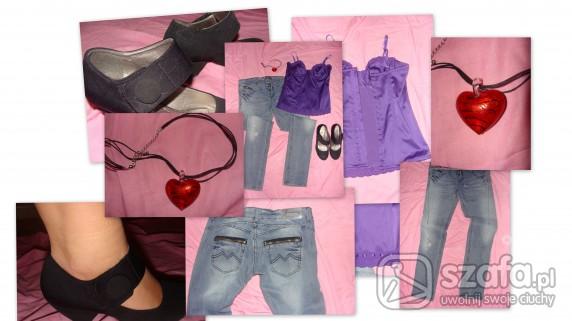 Mój styl Dżinsy plus fioletowy gorsecik