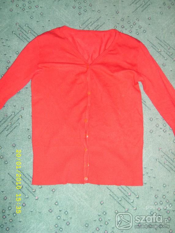 Swetry czerwony sweterek na guziki