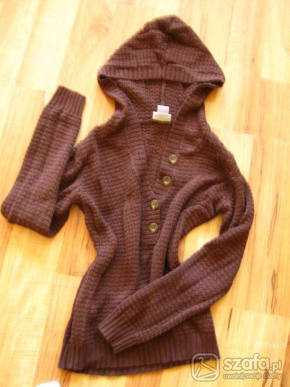 Swetry Czekoladowy ażurkowy sweterek long