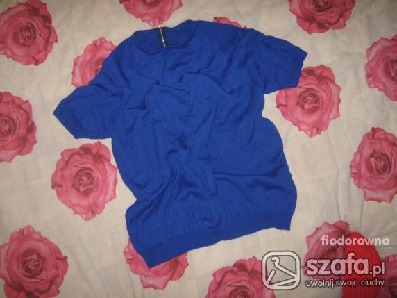 Swetry kobaltowy sweterek z krótkim rekawem