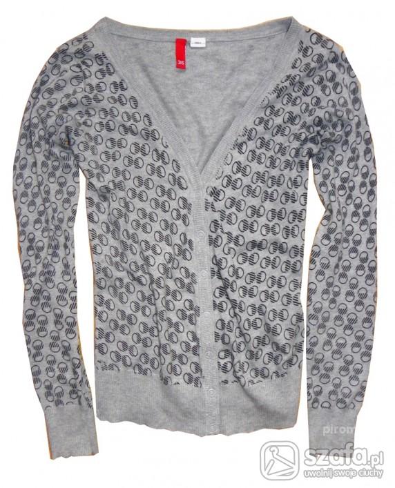Swetry H M retro kardigan szary ze wzrokiem 36 38