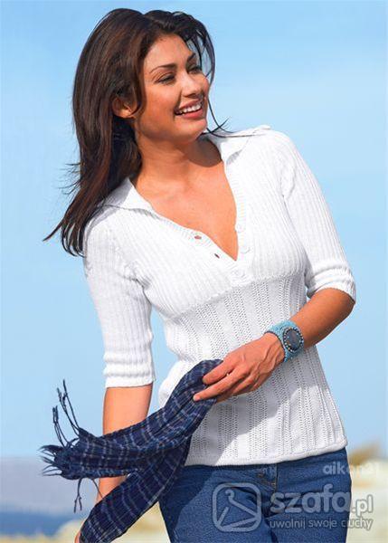 Swetry Sweter biały z kapturem tunika