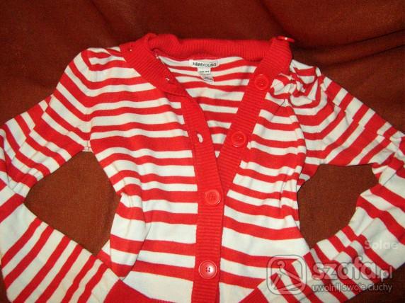 Swetry HiM czerwony sweterek w paski 34 36
