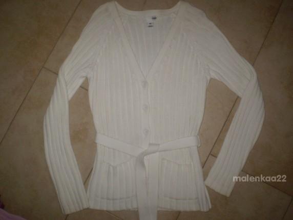 Swetry BIAŁY KARDIGAN H AND M ROZ M