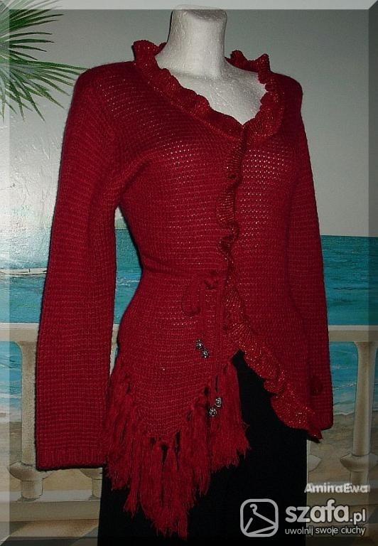 Swetry BARDZO ORYGINALN CZERWONY SWETER