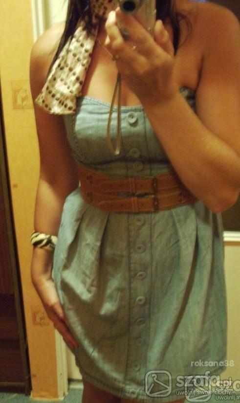 Romantyczne jeansowa sukienka
