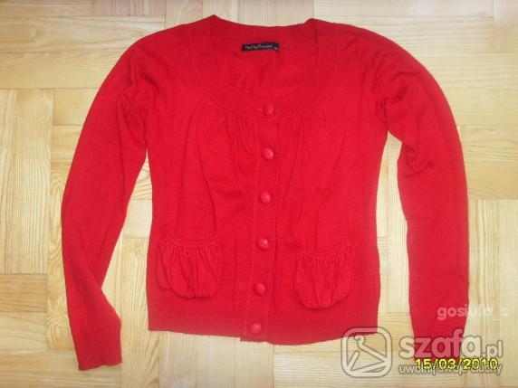 Swetry Cudny czerwony rozpinany sweterek