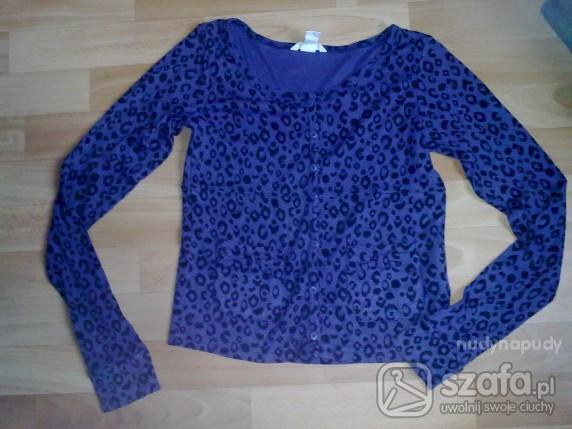 Swetry fioletowy sweterek na guziki w panterkę