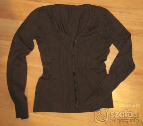 Swetry cienki brązowy na guziczki
